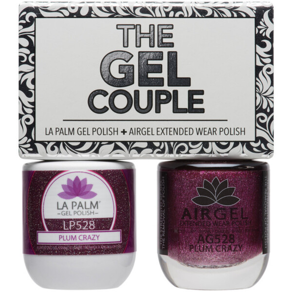 The Gel Couple - PLUM CRAZY - La Palm Gel Polish 0.5 oz. + Airgel - Air Dry Extended Wear Polish 0.5 oz. by La Palm (LP528)