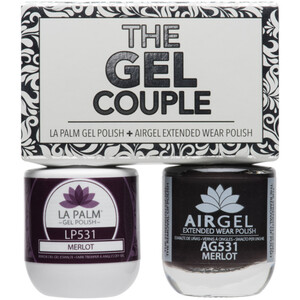 The Gel Couple - MERLOT - La Palm Gel Polish 0.5 oz. + Airgel - Air Dry Extended Wear Polish 0.5 oz. by La Palm (LP531)