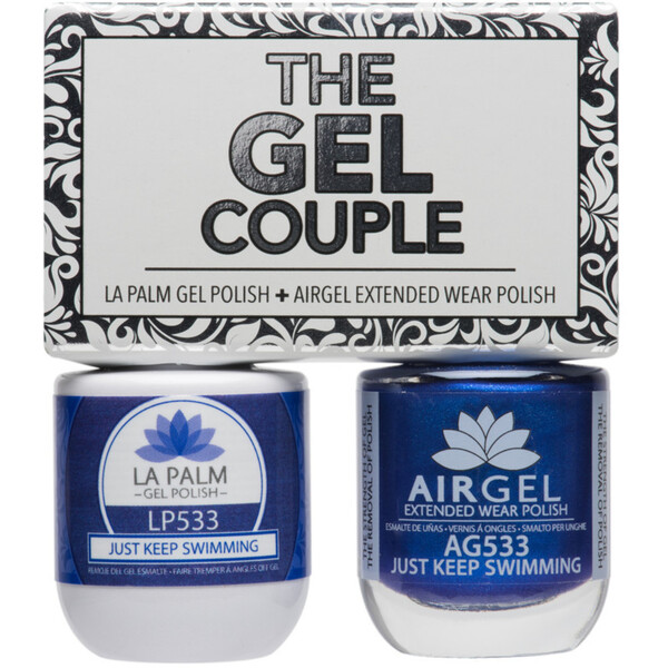 The Gel Couple - JUST KEEP SWIMMING - La Palm Gel Polish 0.5 oz. + Airgel - Air Dry Extended Wear Polish 0.5 oz. by La Palm (LP533)