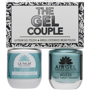 The Gel Couple - TWEET TWEET PARAKEET - La Palm Gel Polish 0.5 oz. + Airgel - Air Dry Extended Wear Polish 0.5 oz. by La Palm (LP535)