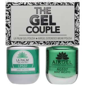 The Gel Couple - MINT MOJITO - La Palm Gel Polish 0.5 oz. + Airgel - Air Dry Extended Wear Polish 0.5 oz. by La Palm (LP537)