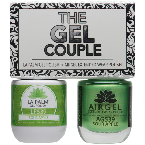The Gel Couple - SOUR APPLE - La Palm Gel Polish 0.5 oz. + Airgel - Air Dry Extended Wear Polish 0.5 oz. by La Palm (LP539)