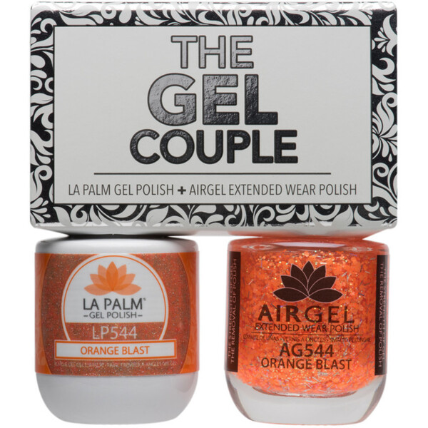 The Gel Couple - ORANGE BLAST - La Palm Gel Polish 0.5 oz. + Airgel - Air Dry Extended Wear Polish 0.5 oz. by La Palm (LP544)
