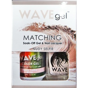 WaveGel Matching Soak Off Gel Polish & Nail Lacquer - Costa Rica Paradise Collection - NUDY SELFIE 0.5 oz. Each (W156)
