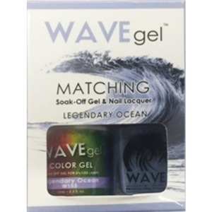 WaveGel Matching Soak Off Gel Polish & Nail Lacquer - Costa Rica Paradise Collection - LEGENDARY OCEAN 0.5 oz. Each (W153)