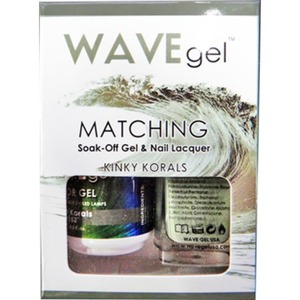 WaveGel Matching Soak Off Gel Polish & Nail Lacquer - Costa Rica Paradise Collection - KINKY KORALS 0.5 oz. Each (W152)