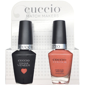 Cuccio Match Makers - Sweet Pink Collection - Long Island Kit - 1 Nail Lacquer + 1 Matching Veneer Soak Off LEDUV Nail Colour 0.43 oz. Each (#6403)