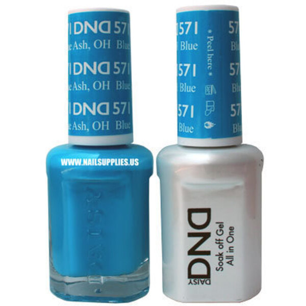 DND Duo GEL Pack - BLUE ASH OH 1 Gel Polish 0.47 oz. + 1 Lacquer 0.47 oz. in Matching Color (DND-G571)