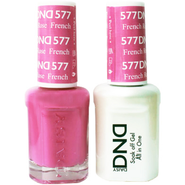 DND Duo GEL Pack - FRENCH ROSE 1 Gel Polish 0.47 oz. + 1 Lacquer 0.47 oz. in Matching Color (DND-G577)
