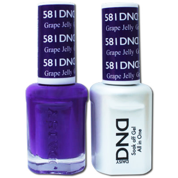DND Duo GEL Pack - GRAPE JELLY 1 Gel Polish 0.47 oz. + 1 Lacquer 0.47 oz. in Matching Color (DND-G581)