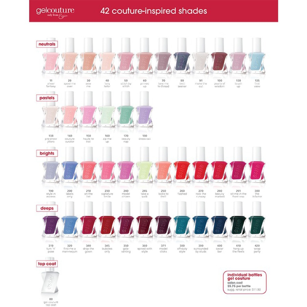 Essie Gel Couture - On The List 0.46 oz. - No Lamp Easy Soak-Free ...