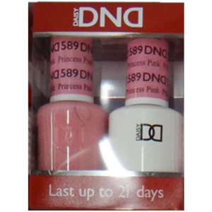 DND Duo GEL Pack - Diva Collection - PRINCESS PINK 1 Gel Polish 0.47 oz. + 1 Lacquer 0.47 oz. in Matching Color (DND-G589)