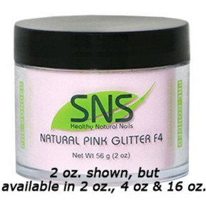 SNS Natural Pink Glitter F4 Dipping Powder - Pre-Bonded 4 oz. ()