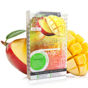 Voesh Deluxe Pedicure in a Box - 4-Step Hygienic Spa Pedicure Kit - Mango Delight 1 Treatment Set by Voesh of New York