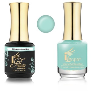 iGel Matched Set B Collection - 1 iGel Impecable Soaked-off Gel Polish 0.5 oz. + 1 iLacquer Matching Nail Lacquer Color 0.5 oz. - MELODIOUS MINT #B22 (20096-B22)