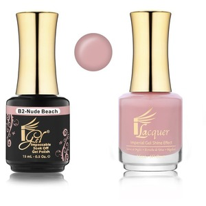 iGel Matched Set B Collection - 1 iGel Impecable Soaked-off Gel Polish 0.5 oz. + 1 iLacquer Matching Nail Lacquer Color 0.5 oz. - NUDE BEACH #B02 (20096-B02)