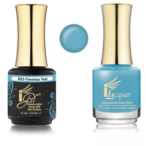 iGel Matched Set B Collection - 1 iGel Impecable Soaked-off Gel Polish 0.5 oz. + 1 iLacquer Matching Nail Lacquer Color 0.5 oz. - TIMELESS TEAL #B23 (20096-B23)