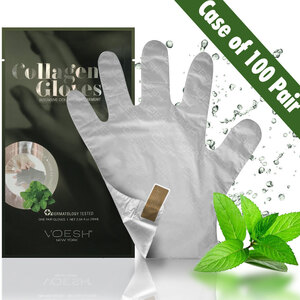 UV Protective Deep Moisturizing Phyto Collagen & Herb Extract Hand Mask Gloves with Pre-cut Fingertips for Easy Manicures / 100 Pair Case by Voesh of New York