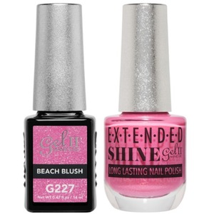 La Palm Gel II No Base Coat Gel Polish + Matching Extended Shine Polish - Seaside Shimmer Collection - BEACH BLUSH (#G227 - #ES227)