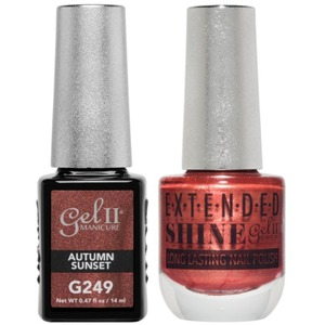 La Palm Gel II No Base Coat Gel Polish + Matching Extended Shine Polish - Essence of Autumn Collection - AUTUMN SUNSET (#G249 - #ES249)