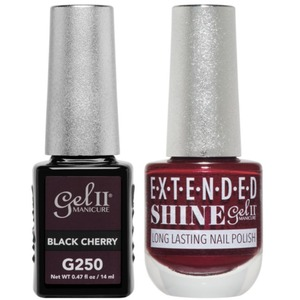 La Palm Gel II No Base Coat Gel Polish + Matching Extended Shine Polish - Essence of Autumn Collection - BLACK CHERRY (#G250 - #ES250)