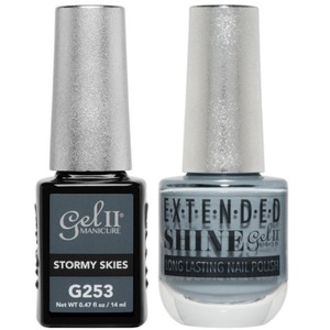 La Palm Gel II No Base Coat Gel Polish + Matching Extended Shine Polish - Essence of Autumn Collection - STORMY SKIES (#G253 - #ES253)