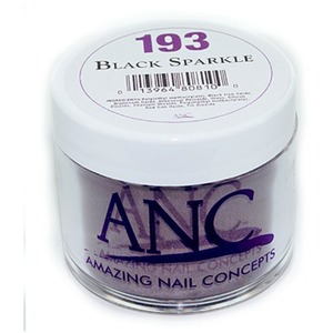 ANC Dip Powder - BLACK SPARKLE #193 2 oz. - part of the ANC Acrylic Nails Dipping System (#193)