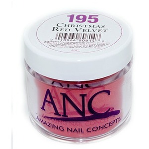 ANC Dip Powder - CHRISTMAS RED VELVET #195 2 oz. - part of the ANC Acrylic Nails Dipping System (#195)