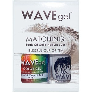WaveGel Matching Soak Off Gel Polish & Nail Lacquer - BLISSFUL CUP OF TEA W183 0.5 oz. Each (WG183)