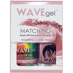WaveGel Matching Soak Off Gel Polish & Nail Lacquer - NO DRESS CODE PINK W177 0.5 oz. Each (WG177)