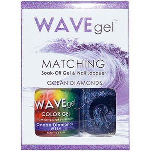 WaveGel Matching Soak Off Gel Polish & Nail Lacquer - OCEAN DIAMONDS W184 0.5 oz. Each (WG184)
