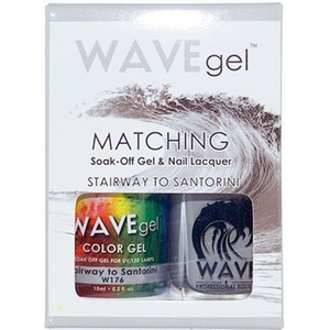 WaveGel Matching Soak Off Gel Polish & Nail Lacquer - STAIRWAY TO SANTORINI W176 0.5 oz. Each (WG176)