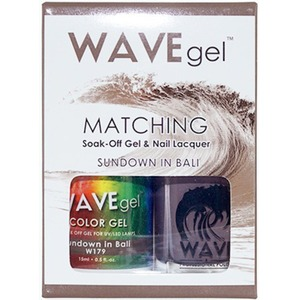 WaveGel Matching Soak Off Gel Polish & Nail Lacquer - SUNDOWN IN BALI W179 0.5 oz. Each (WG179)