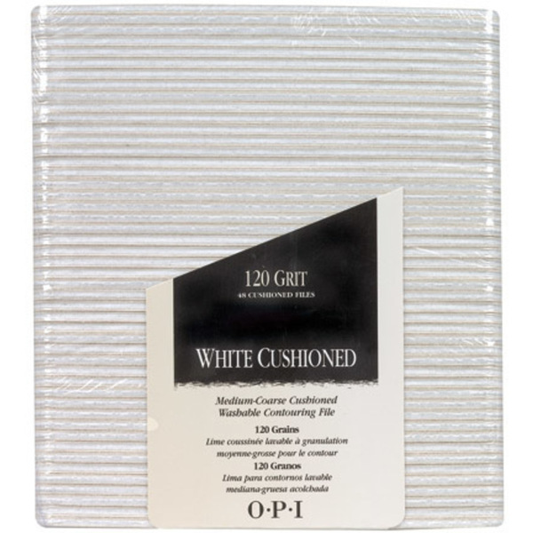 OPI White Cushioned File - 120 Grit Pack of 48 (FI291)
