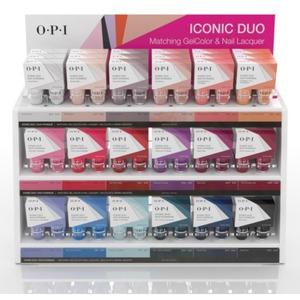 OPI Iconic Duo - GelColor + Nail Lacquer - 54 Piece Acrylic Display - Three Duo of Each Color ()