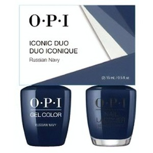 OPI Iconic Duo - GelColor + Nail Lacquer - SRJ66 (R54) - Russina Navy 0.5 oz. Each (SRJ66 - R54)