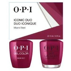 OPI Iconic Duo - GelColor + Nail Lacquer - SRJ69 (B78) - Miami Beet 0.5 oz. Each (SRJ69 - B78)