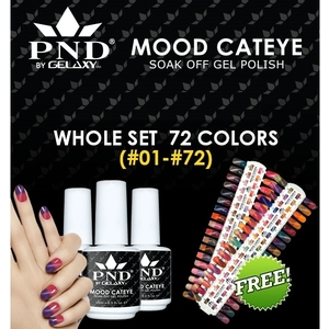 PND by Gelaxy - Mood Cateye Gel Polish .5 oz - Complete Set - 72 Colors (#01-#72) - GET FREE 1 SAMPLE TIP SET (20483-Set)