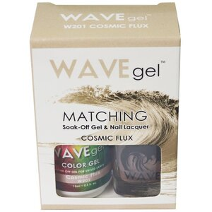 WaveGel Matching Soak Off Gel Polish & Nail Lacquer - COSMIC FLUX - W201 0.5 oz. Each (W201)