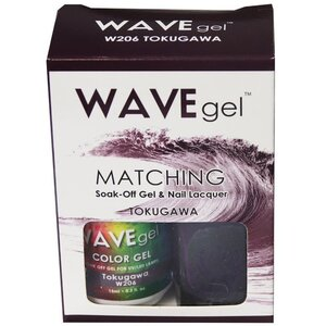 WaveGel Matching Soak Off Gel Polish & Nail Lacquer - TOKUGAWA - W206 0.5 oz. Each (W206)