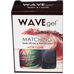 WaveGel Matching Soak Off Gel Polish & Nail Lacquer - A.I LOVE - W207 0.5 oz. Each (W207)