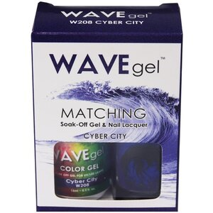 WaveGel Matching Soak Off Gel Polish & Nail Lacquer - CYBER CITY - W208 0.5 oz. Each (W208)