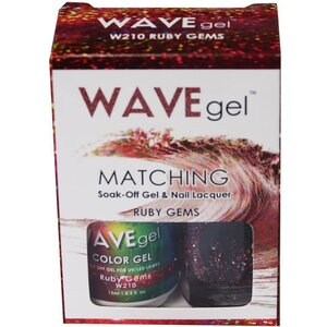WaveGel Matching Soak Off Gel Polish & Nail Lacquer - RUBY GEMS - W210 0.5 oz. Each (W210)