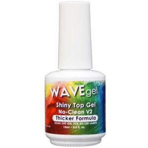 WaveGel Shiny No-Clean V2 Thicker Formula Top Coat - for Use With Soak-Off Gel Polish 0.5 oz (20345-v2)