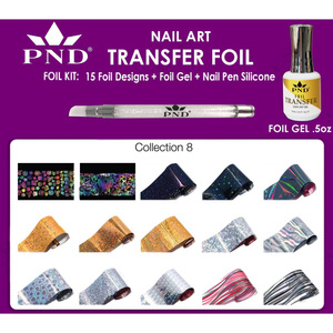 PND Transfer Foil Kit - 15 Designs FoilGel + Nail Pen Silicone Collection #8 ()