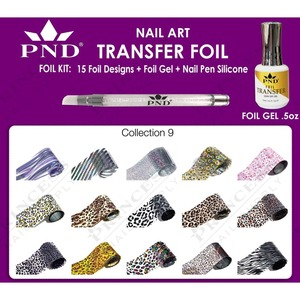 PND Transfer Foil Kit - 15 Designs FoilGel + Nail Pen Silicone Collection #9 ()