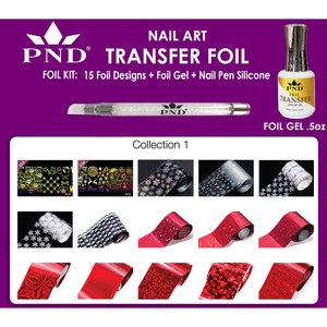 PND Transfer Foil Kit - 15 Designs FoilGel + Nail Pen Silicone Collection #1 ()