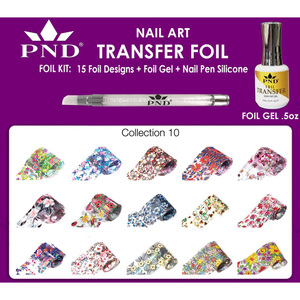 PND Transfer Foil Kit - 15 Designs FoilGel + Nail Pen Silicone Collection #10 ()