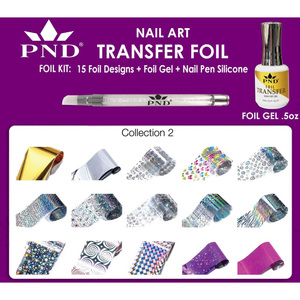 PND Transfer Foil Kit - 15 Designs FoilGel + Nail Pen Silicone Collection #2 ()