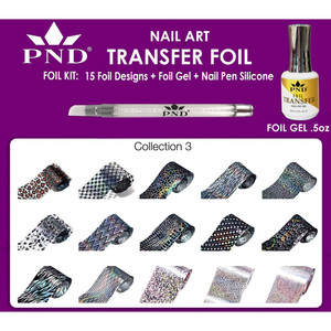 PND Transfer Foil Kit - 15 Designs FoilGel + Nail Pen Silicone Collection #3 ()